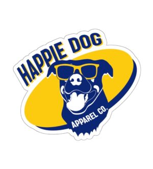 Happie Dog Dark Blue Kiss Cut Sticker